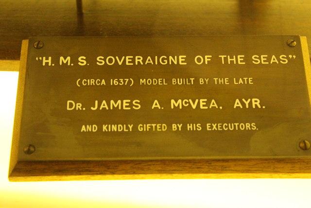 """H.M.S. """"Soveraigne of the Seas"""" Plaque"""
