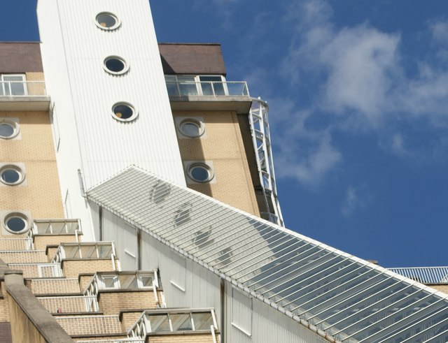 Looking up at Cascades Tower from the Thames Path #3