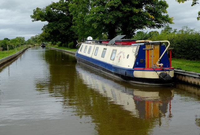 Moored narrowboat near Burland in Cheshire