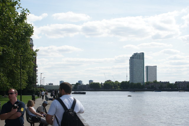 View of towerblocks in Deptford from the Thames Path by Sir John McDougal Gardens