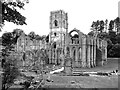 SE2768 : Fountains Abbey (monochrome) by Andrew Curtis