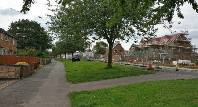Houses under construction along Keyham Lane West