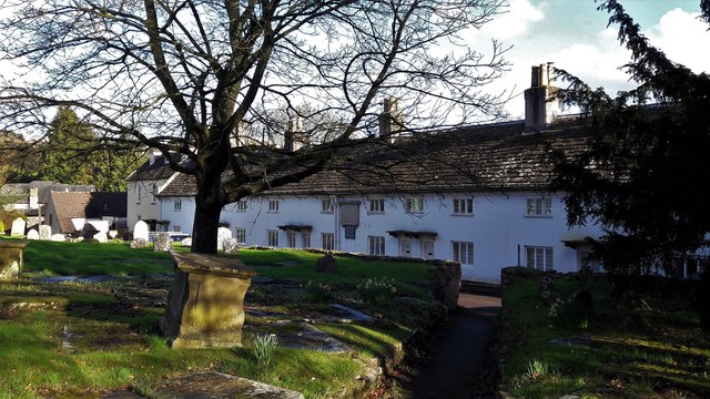 Almshouse Road from the churchyard of All Saints, Newland
