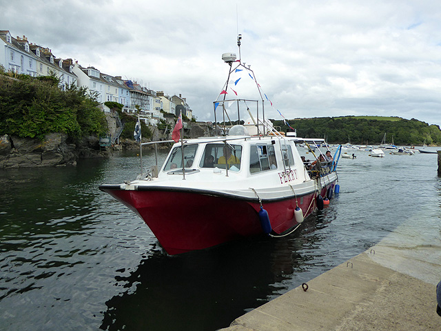 The ferry from Mevagissey arriving at Fowey Quay