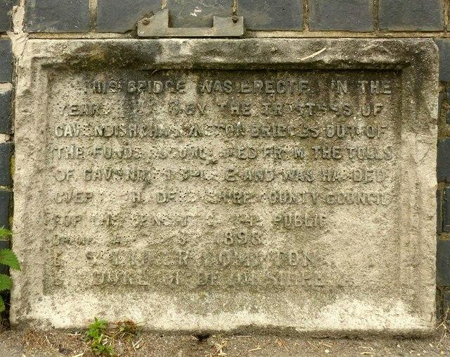 Commemorative plaque, Borrowash Bridge