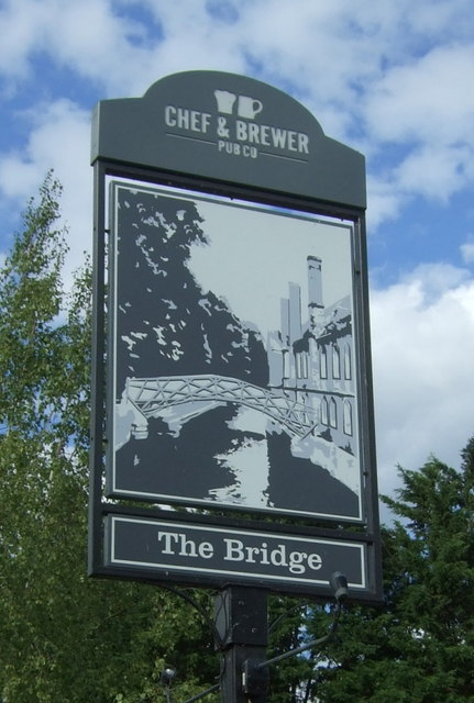 Sign for the Bridge public house, Clayhithe