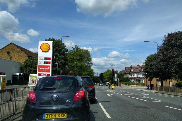 On Colney Hatch Lane, heading north, at the corner of Alexandra Park Road