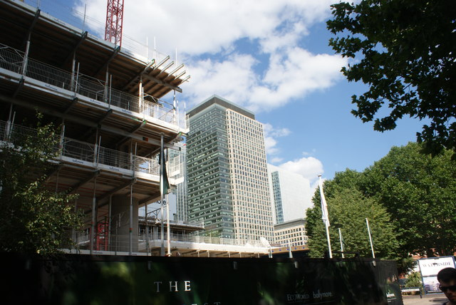 View of the building in Canary Wharf next to the J. P. Morgan building from Marsh Wall