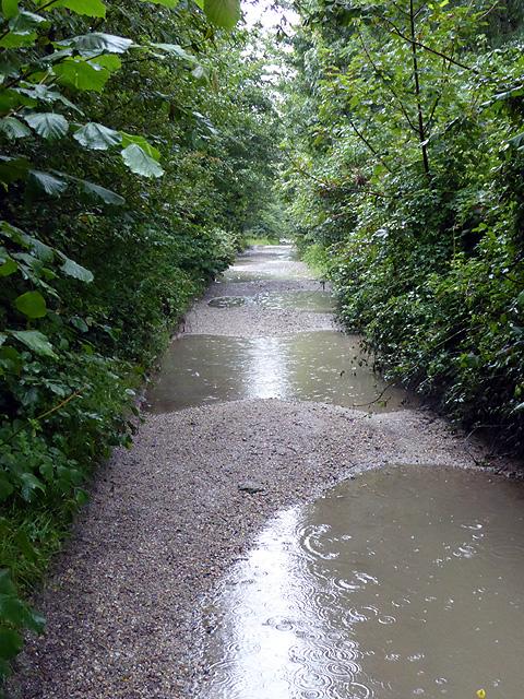 Flooded track near Pill Farm