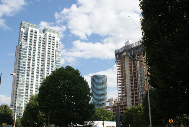 View of the Pan Peninsula apartment block and two new builds from Marsh Wall
