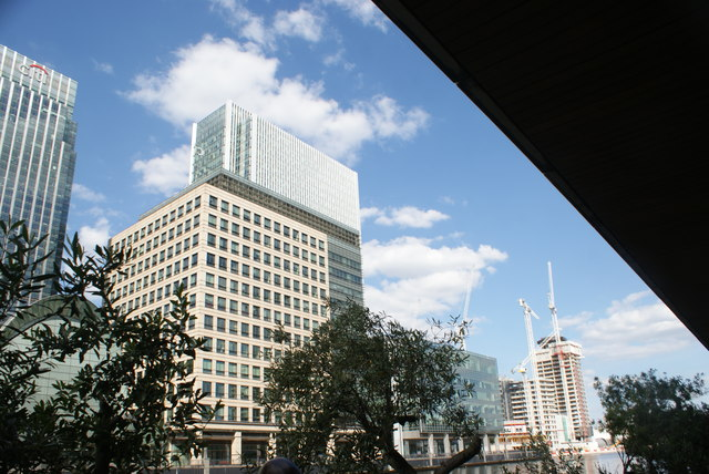 View of the building next to the Citibank building from Canary Wharf
