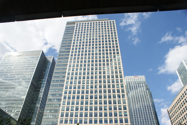 View of the building next to the J. P. Morgan building from Canary Wharf