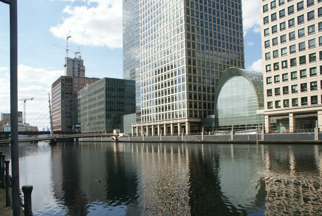 View of buildings in Canary Wharf from South Quay #7