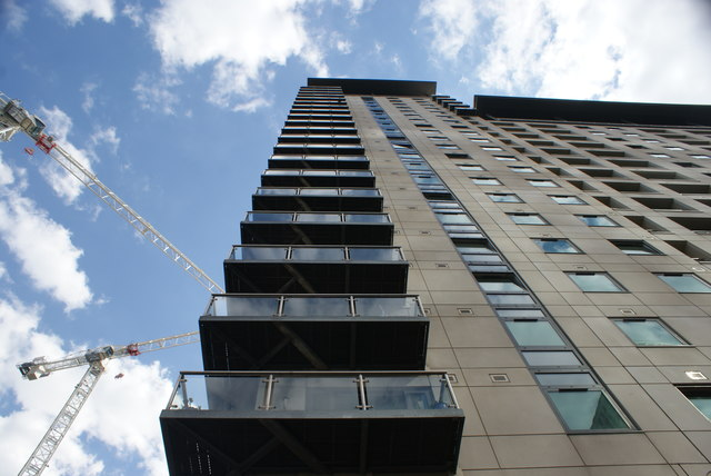 Looking up at apartments in South Quay