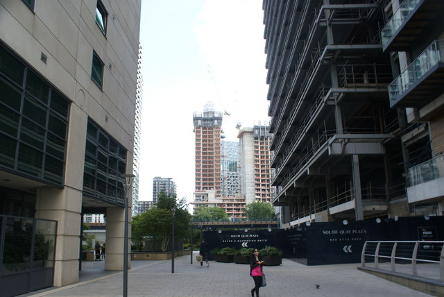 View of new towerblocks under construction in Canary Wharf from South Quay #2
