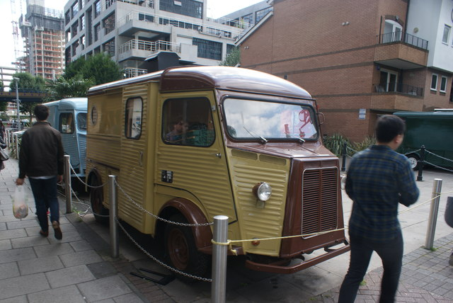 View of a Citroen H van at Canary Wharf