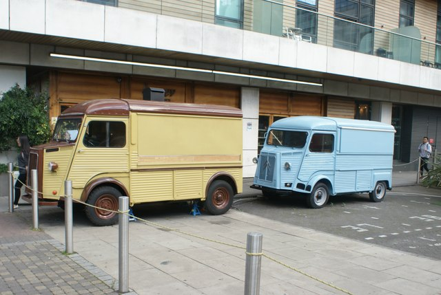 View of a pair of Citroen H vans at Canary Wharf