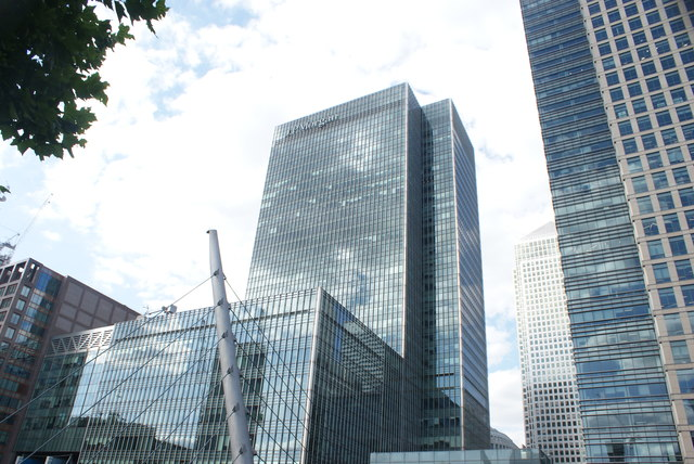 View of the J. P. Morgan building from the footbridge over South Quay