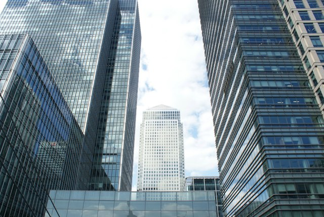 View of One Canada Square from the footbridge leading from South Quay Walk into Canary Wharf #2
