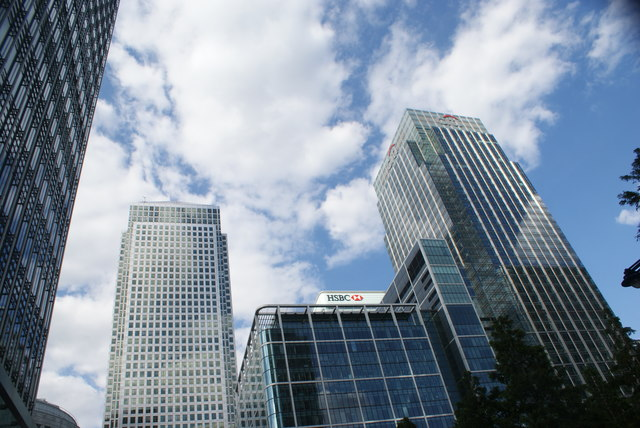 View of One Canada Square and the HSBC and Citibank buildings from the footbridge leading into South Quay