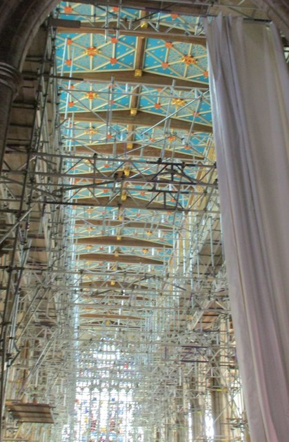 Scaffolding in the nave of Holy Trinity church