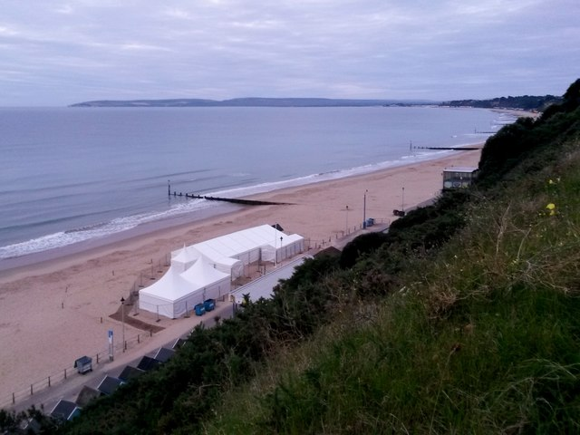 Bournemouth: the wedding marquee on the beach