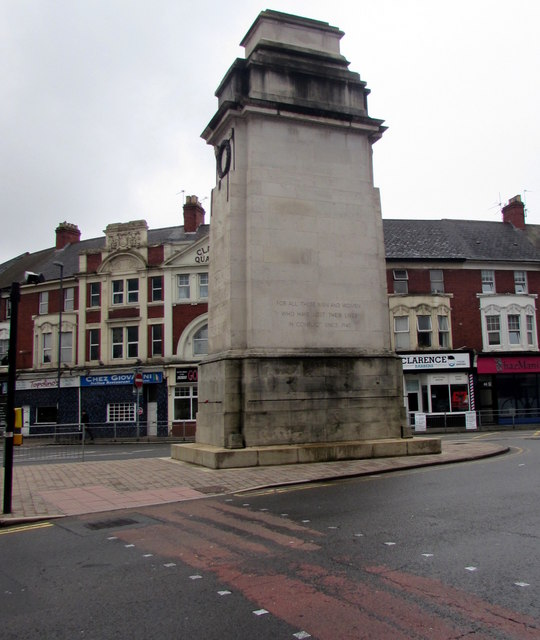 North side of the Cenotaph, Clarence Place, Newport