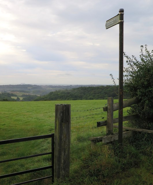 Public footpath R17 towards Downs Road and Knighton