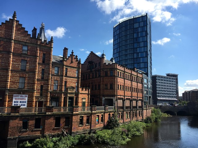 Old and new riverside buildings