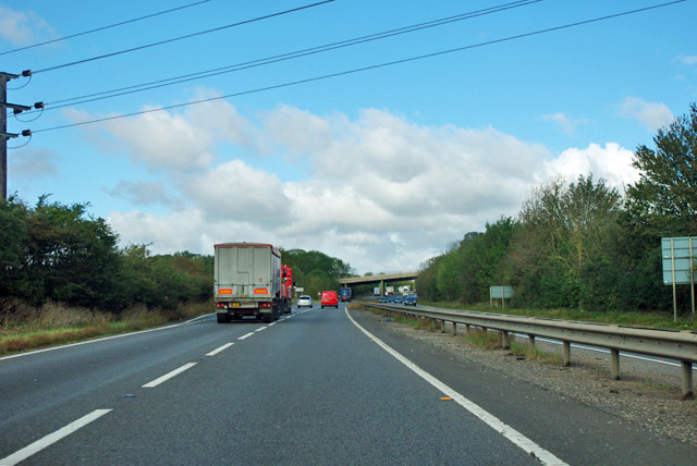 A1 approaching A6121 turning