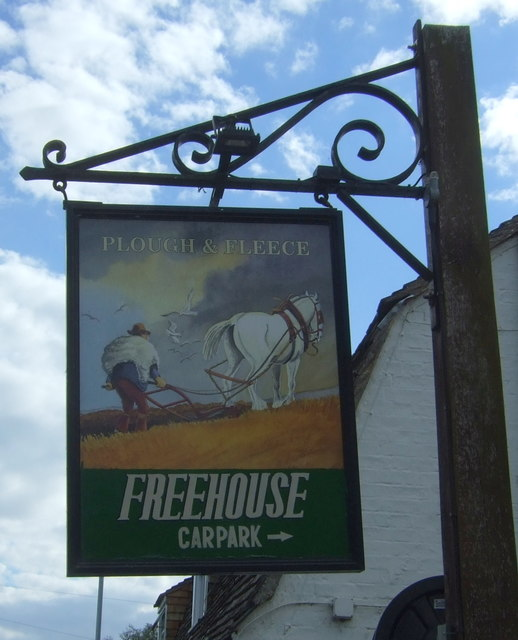 Sign for the Plough and Fleece, Horningsea