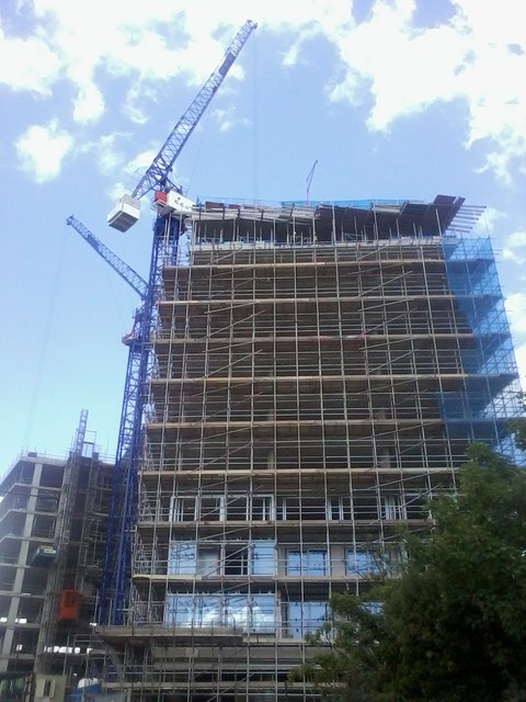 Apartments under construction on Camley Street