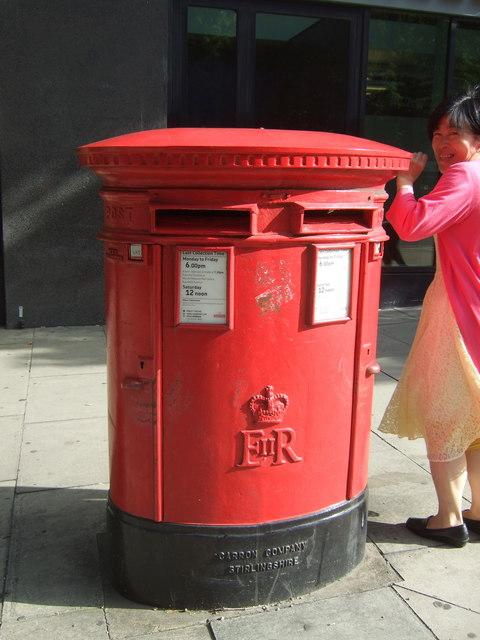 Double aperture Elizabeth II postbox on Pentonville  Road, London N1