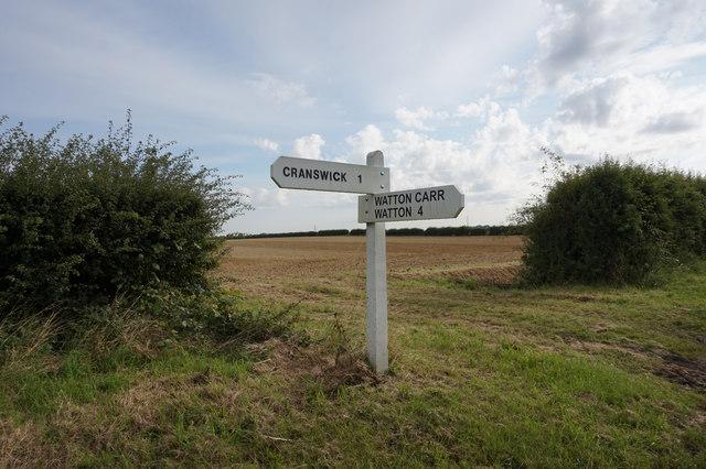 Signpost on Stockbridge Lane