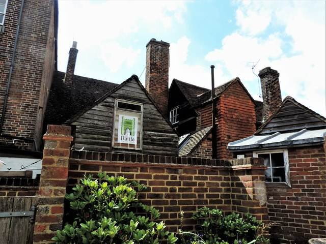 Roofs and chimneys, Old Ladies Court off Battle High Street