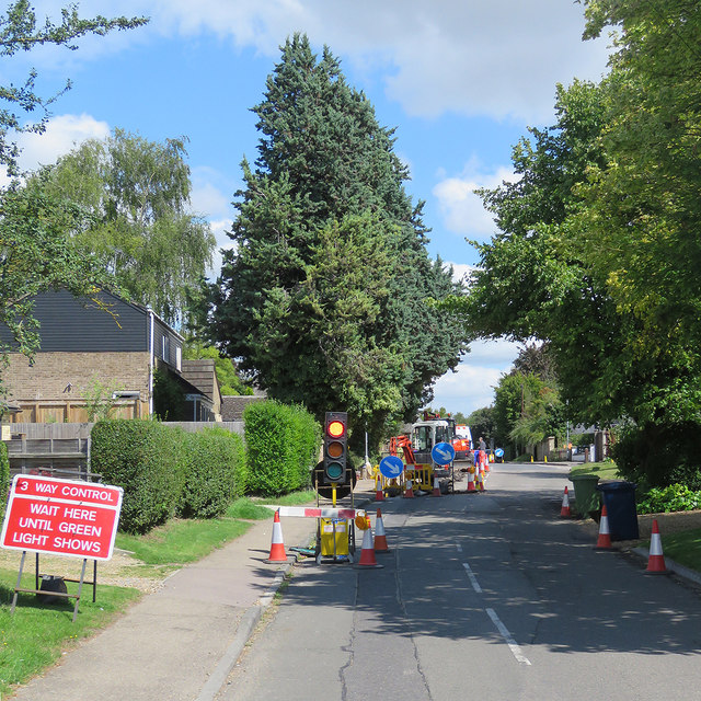 Great Wilbraham: temporary traffic lights