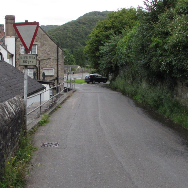 Warning sign - Give Way 50 yds, Forge Road, Tintern