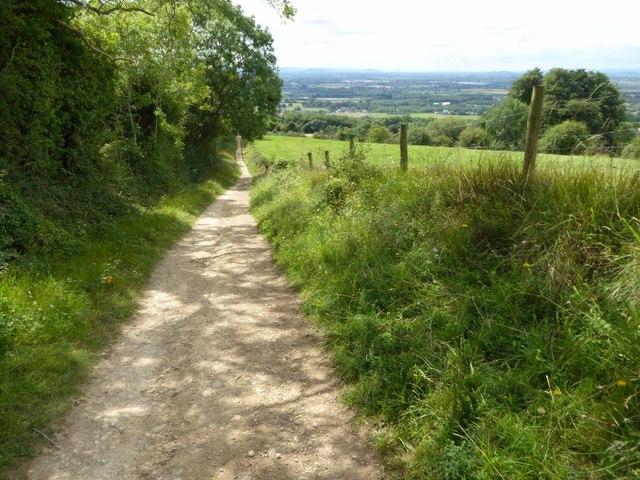 Bridleway ascending Bredon Hill