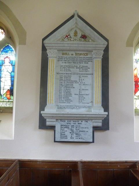 War memorial, Butterleigh church (St Matthew)