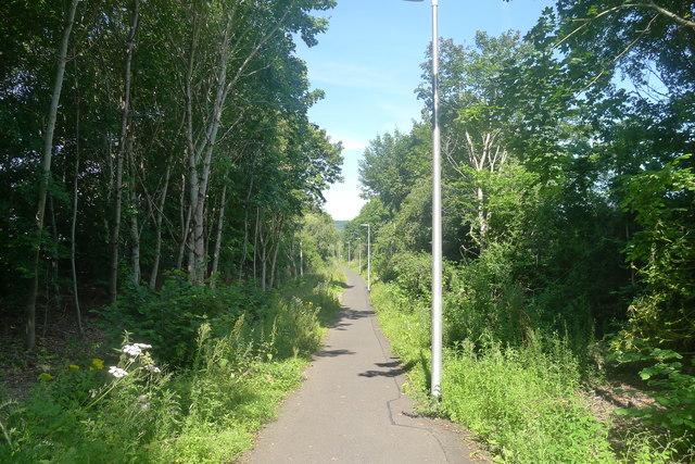 The Southern Upland Way heading towards Tweedbank station