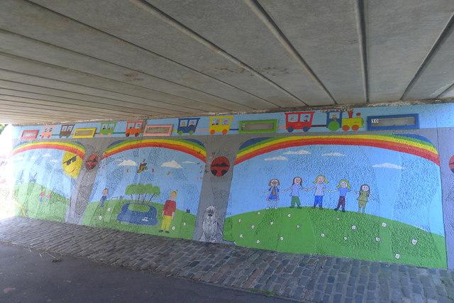Underpass artwork below Tweedbank Drive