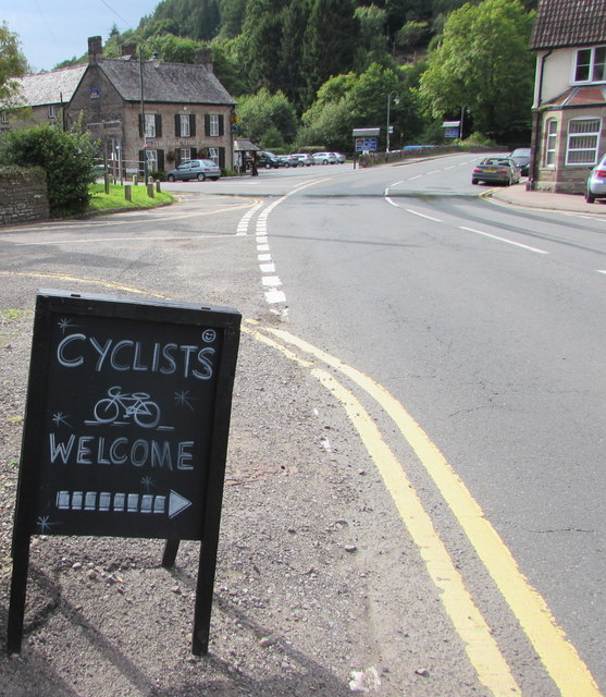 CYCLISTS WELCOME board alongside Main Road, Tintern