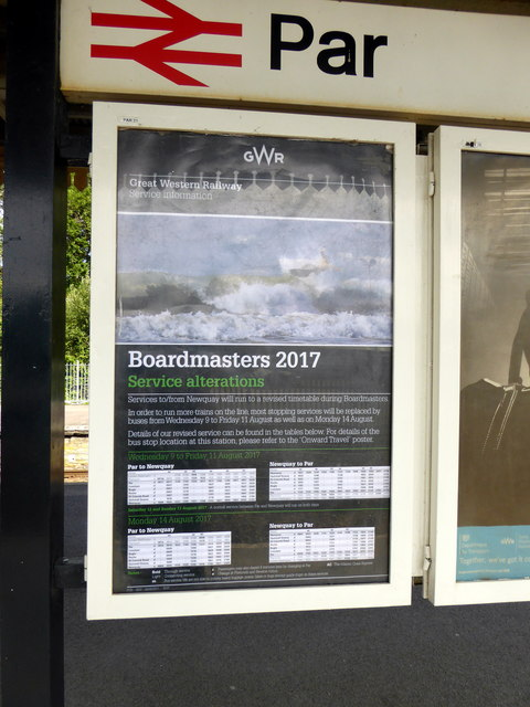 'Boardmasters' special train service poster at Par