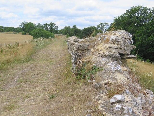 Part of the north-east wall, Calleva Atrebatum