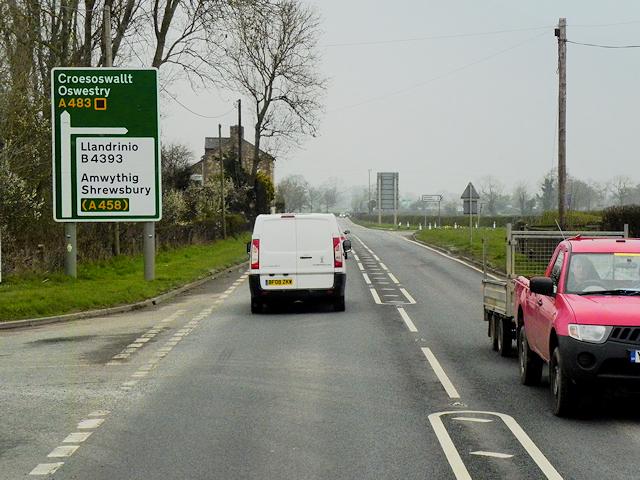 Northbound A483 near Penthryn-fawr