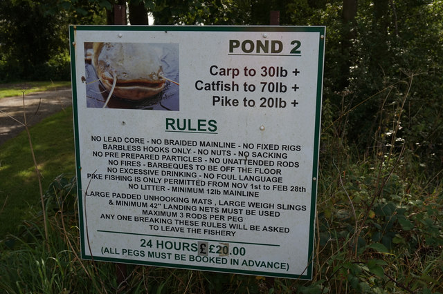 Notice at the fishing ponds at Emmotland