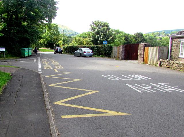 Zigzag markings on New School Road, Gilwern