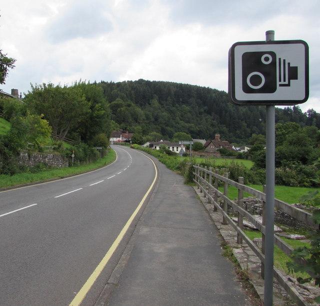 Speed camera sign alongside the A466, Tintern