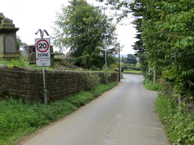 Odda Lane near the Methodist Church Graveyard at Hawkesworth