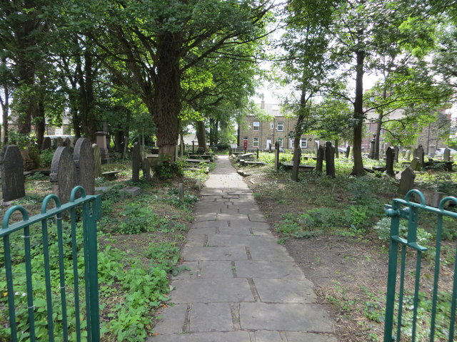 Pathway through Wesley Place Graveyard at Low Moor